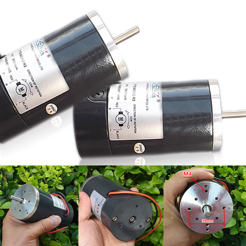 цена на 1pc DC 24V Gear Motor 3000RPM 60W High Power Carbon Brush Motor Ball Bearing DC Gear Motor Shaft Diameter 6.3mm