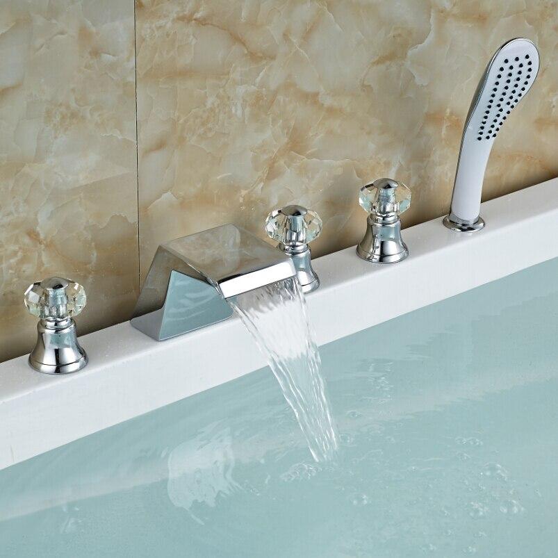 Waterfall Spout Bathroom Bathtub Faucet Three Handles with Plastic Handheld Mixer Taps Chrome polished chrome 3 control handles bathtub faucet deck mounted waterfall spout with handheld sprayer head tub mixer taps