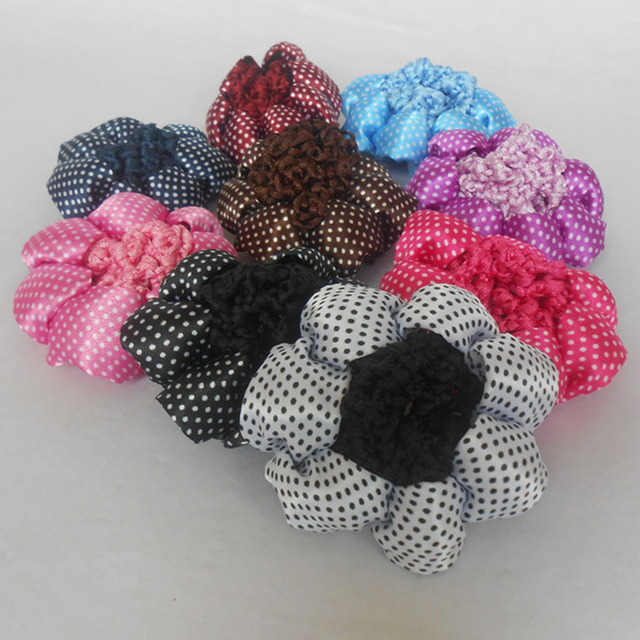 10pcslot New Dot Design Decor Ribbon Circle Women Bun Cover Snood