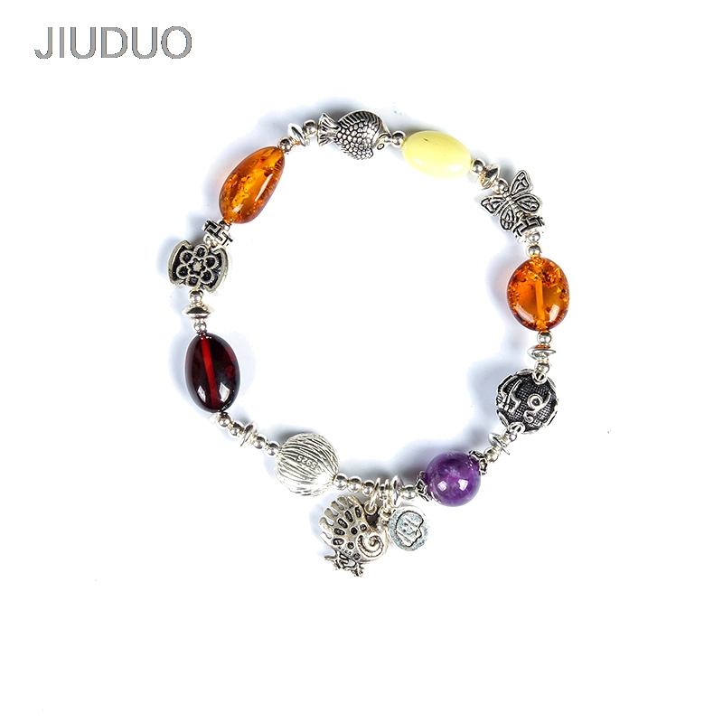 Special 925 silver bracelet inlaid pure natural beeswax flower Perot blood Perkin gold Natural amber beeswax multi-treasure hand amber beeswax original stone pure natural amber beeswax wristband bracelet male and female models a picture design factory