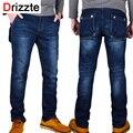 Drizzte Jeans Men Plus Size 40 42 44 46 48 Designer Cotton Stretch Denim Large Big Size Pants Trousers Big Pocket Jean For Men