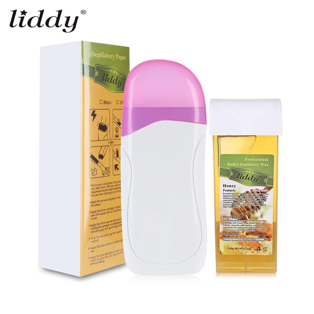 LIDDY 3 In 1 Enthaarung Haar Entfernung Enthaarung Wachs Streifen Haar Entfernung Mit Epilierer Maschine Patrone Heizung Waxing Papier Set
