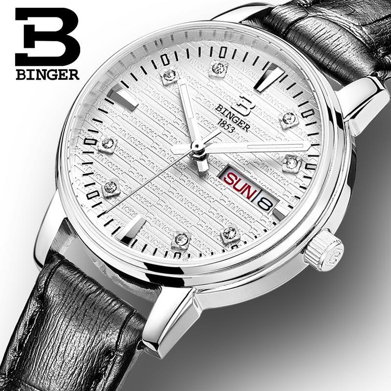 Switzerland Binger watches women fashion luxury relogio feminino ultrathin quartz glowwatch leather strap Wristwatches B3036G 4