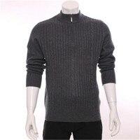 Высокого качества 100% Шевро cashmere half высокой молнии воротник вязать Мужчины Модный пуловер свитер H прямой Светло серый S/2XL
