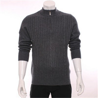 High Grade 100 Goat Cashmere Half High Collar Knit Men Fashion Thick Zipper Pullover Sweater H