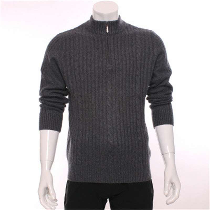 high grade 100%goat cashmere half high zipper collar knit men fashion pullover sweater H straight light grey S/2XL
