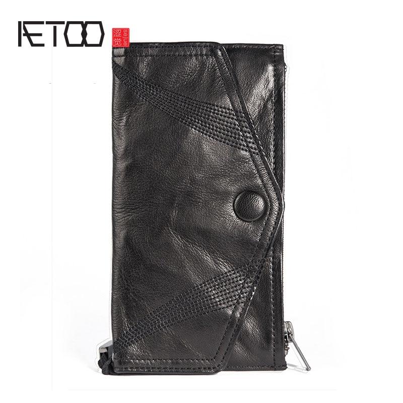 AETOO Handmade sheepskin cell phone handbag tide men's thin envelope wallet men's leather men's long handbag Vintage wallet