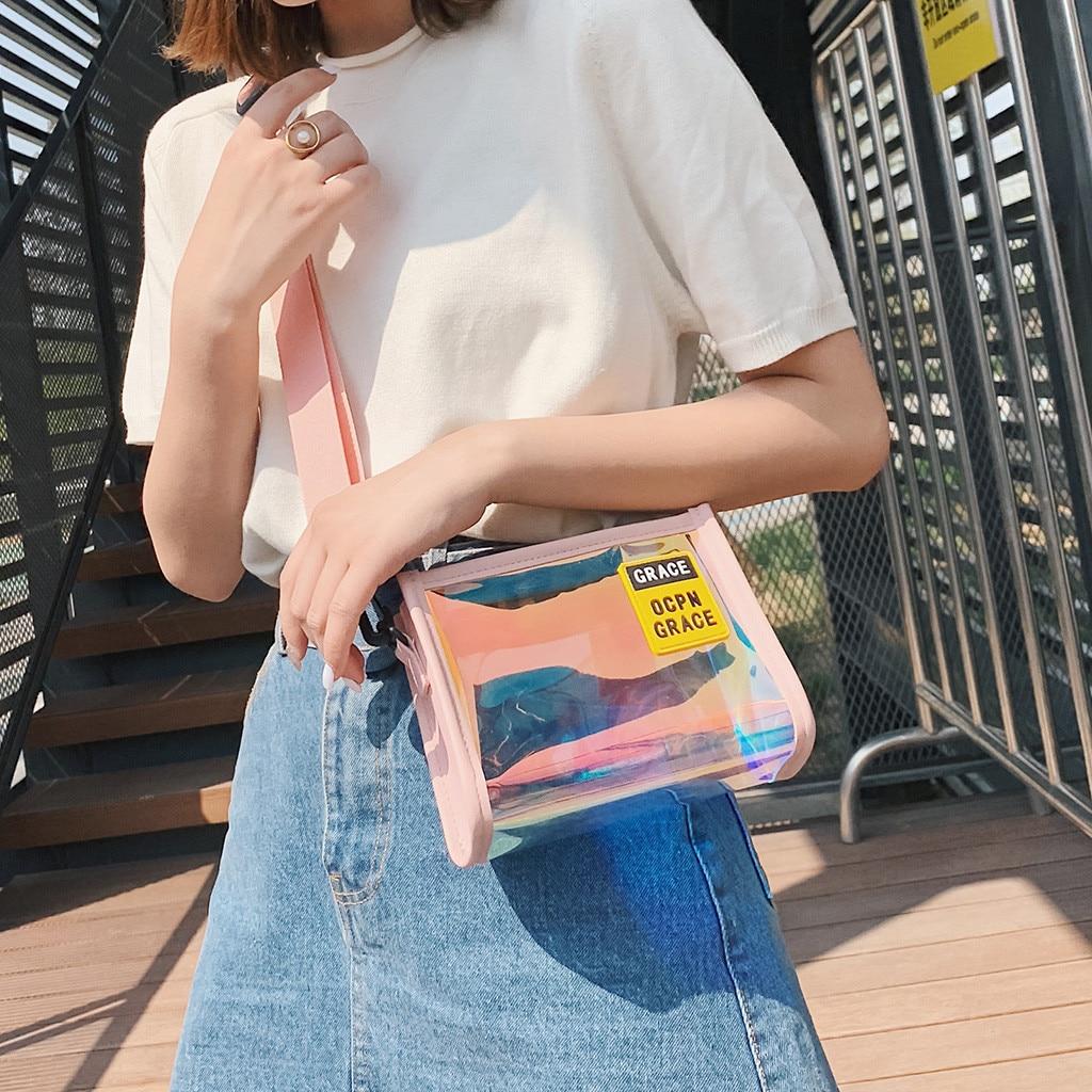 Handbag Clear Transparent Hologram Colorful Bags Chain Messenger Women Fashion Cute Sweet