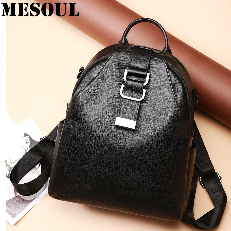 MESOUL Brand Women Backpack Bag High Quality Genuine Leather Shoulder Bag Female Casual Daypacks Multifunctional Backpack SchoolMESOUL Brand Women Backpack Bag High Quality Genuine Leather Shoulder Bag Female Casual Daypacks Multifunctional Backpack School