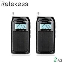 2pcs RETEKESS PR12 AM FM Mini Handheld Radio Portable Pocket Radio Receiver With MP3 Player Support Micro USB Card For Walking цена и фото