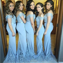 2017 Blue Off Shoulder Mermaid Bridesmaid Dress Lace Button Back Maid of Honor Satin Sweetheart Wedding Party Gown BD123