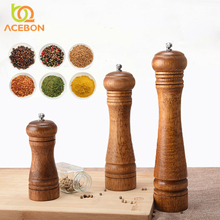 Wood Salt and Pepper Mill Shakers Wooden Spice Grinders Manual Herbs Mills with Adjustable Ceramic Kitchen Accessories