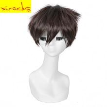 3024 Xi.rocks Dark Brown 11inch Short Straight Hair Synthetic Titan Style Man's Cosplay AnimeWig High Temperature Fibre
