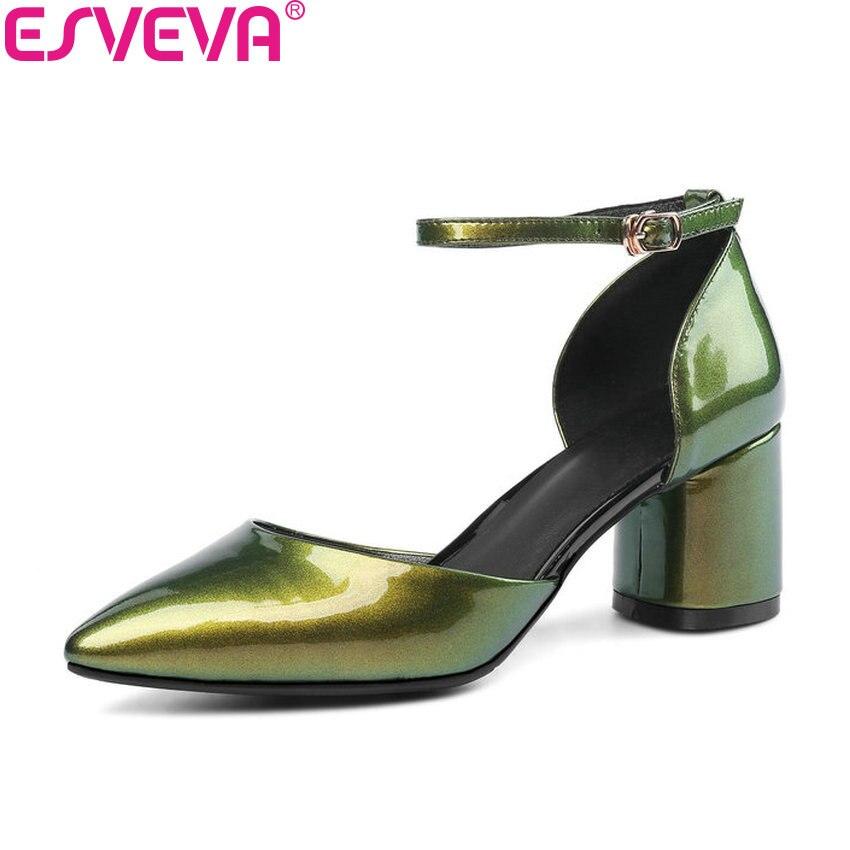 Esveva 2018女性パンプスグラデーションカラーツーピースpuパンプス平方ハイヒールバックル牛パテントレザー靴女性サイズ34-43