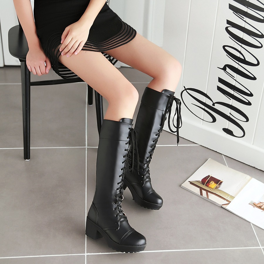 Long Boots for Women Shoes Sexy Platform Sapato Feminino Zapato Mujer Superstar Shoes Top Daily Dress Botas Lace up Plus Size