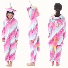 Kigurumi Onesie Children Animals Pijama Kids Winter Flannel Unicorn Pajama Boys Girls Cosplay Pajamas Baby Jumpsuit Sleepwear