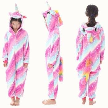 ee5881b194 Kigurumi Onesie niños animales Pijama niños de franela de invierno  unicornio Pijama niños niñas Cosplay pijamas