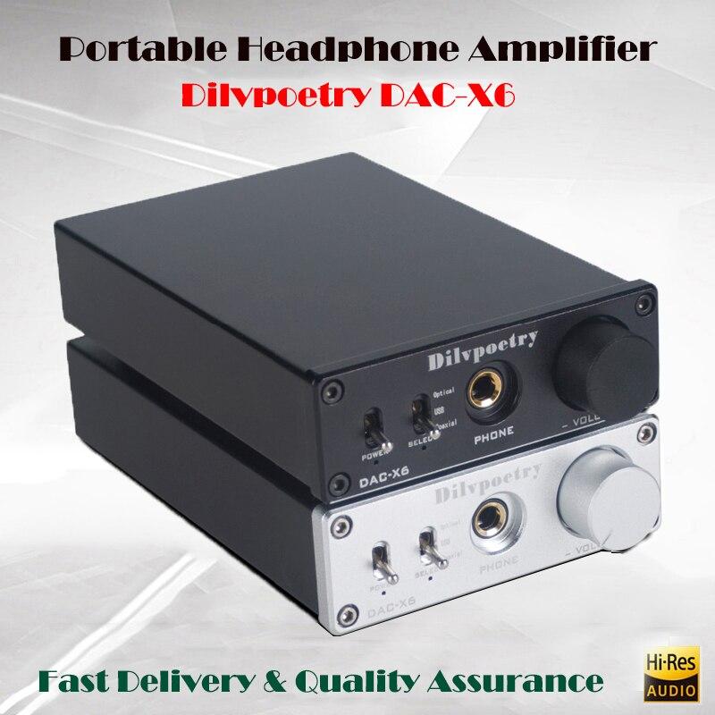 Dilvpoetry DAC-X6 Hifi Headphone Amplifier Home Portable Headphone Amplifier DAC Audio Amplifier Headphone Amp USB OPTICAL lindemann