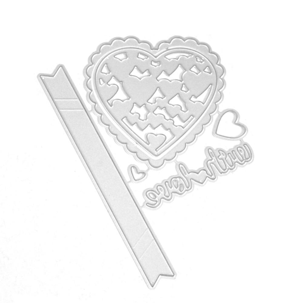 Wavy Lace Heart Shape Template Metal Cutting Dies Scrapbooking
