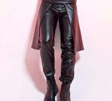2016 мужские костюмы Оригинальный дизайн мужской одежды брюки брюки мужские костюмы черный и белый кожаные штаны мужчины