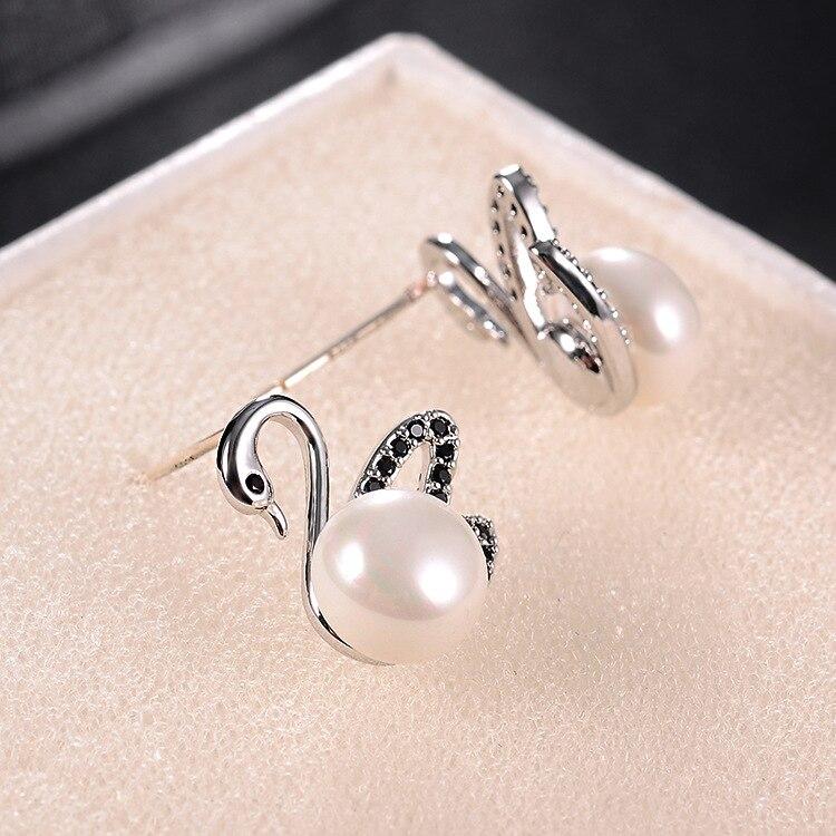 S925 Silver Needle Female Models Black Four leaf Clover Earrings Full of Zircon Imitation Allergy Jewelry Earrings in Drop Earrings from Jewelry Accessories