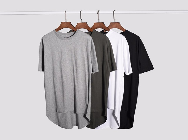 2017 New Fashion Top quality summer hiphop clothing extended oversized white t shirt men 100% cotton t-shirts hot selling 8