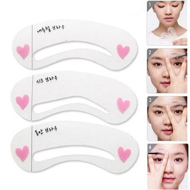 Hot sale 3 Pcs New Eyebrow Stencil Tool Makeup Eye Brow Template Shaper Make Up Tool 2
