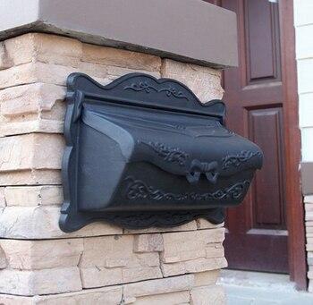 Matt Black Wall mounted cast aluminum decorative mail boxes outdoor maibox aluminum letter box Antique Metal Wall Mount Postbox