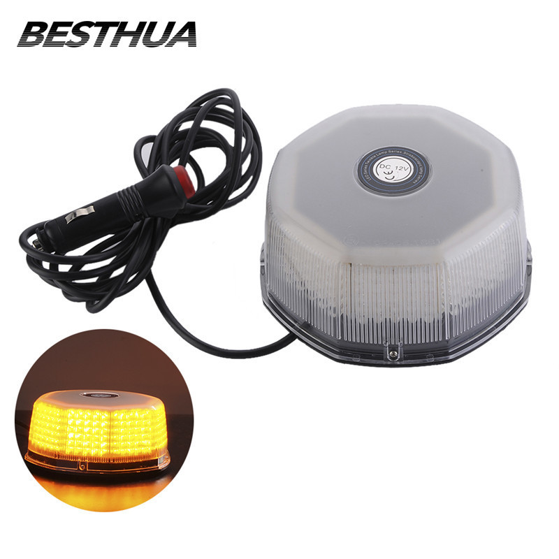32 LED Car Strobe Warning Light Amber Magnetic Beacon Light Emergency Warning Strobe Yellow Roof Round Light 12V Car Styling