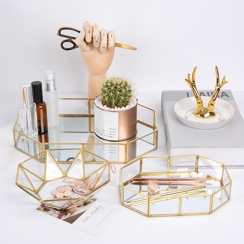 Retro Brass Makeup Storage Tray Golden Polygon Glass Dessert Snack Plate Makeup Jewelry Plate Home Kitchen Decor