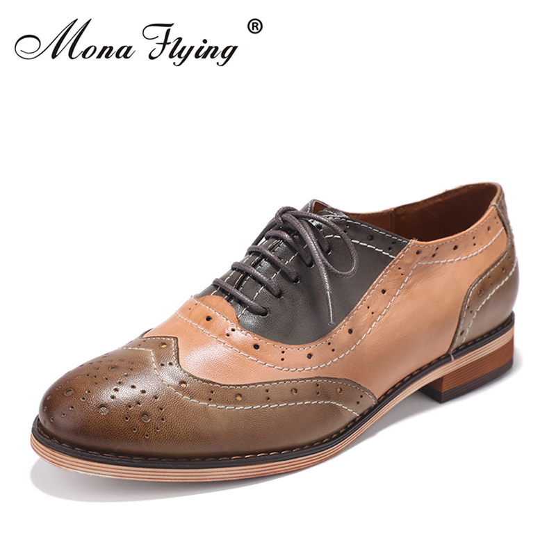 Women Flats Oxfords Shoes 2017 New Vintage Brand Genuine Leather Women Lace-up Casual Brogue Shoes for Women Handmade Shoes 2017 new handmade women flats genuine leather oxfords shoes woman fashion ballets flats casual moccasins for women sapatos mujer