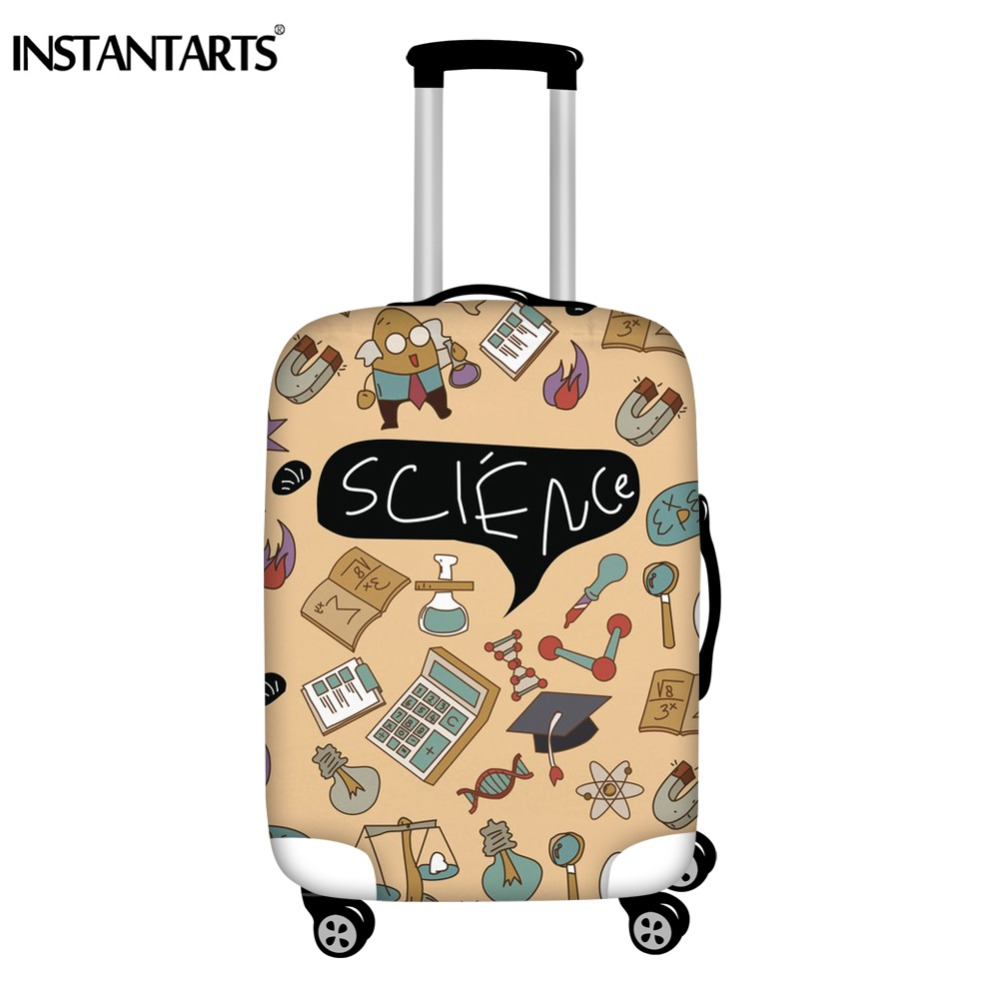 INSTANTARTS Science Subject Student Prints Luggage Cover Apply To 18-30 Inch Trolley Case Waterproof Dust Rain Suitcase Covers