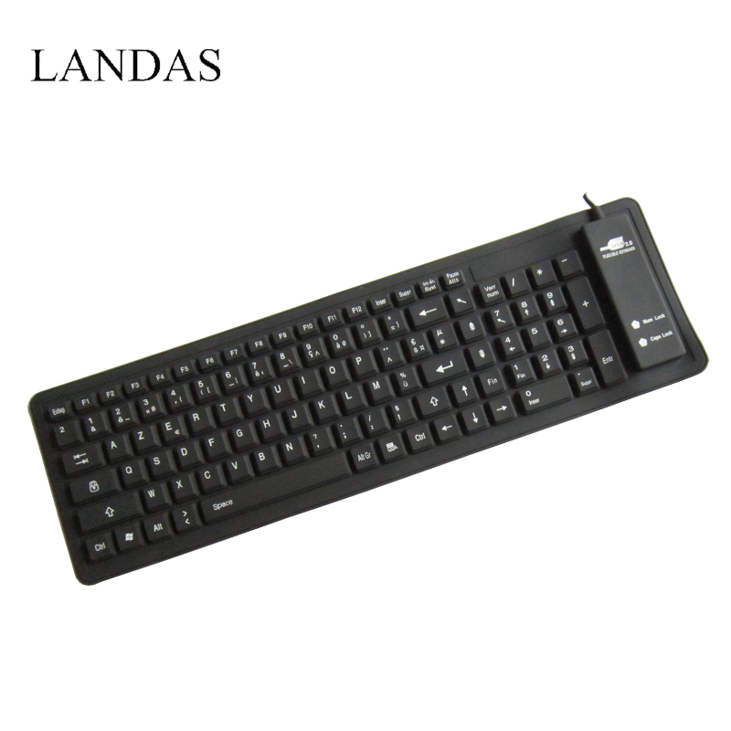 Landas Silicone French Keyboard For Notebook Rolled Waterproof Wired Spanish Desktop PC