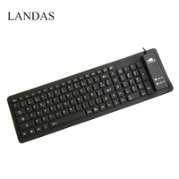 Landas Silicone French Keyboard For Notebook Rolled Waterproof Wired Silicone Keyboard French Spanish For Desktop PC
