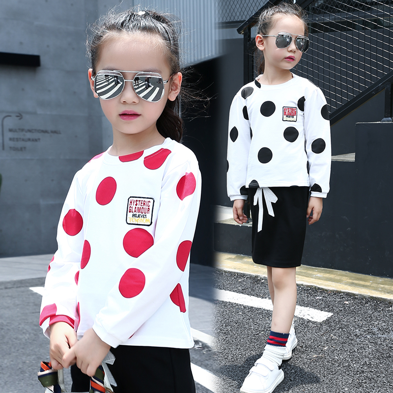 2017 autumn childrens clothes girls t-shirts dots long sleeve cotton girl t-shirt pullovers for girls kids o neck tshirts tops