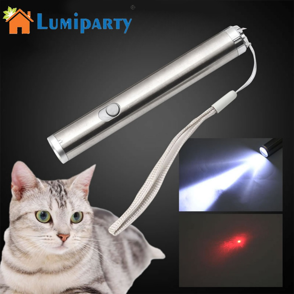 LumiParty 2 In 1 Red Multifunction Light Laser Flashlight Cat Teaser Toy Portable Funny Stick For Cat Pets