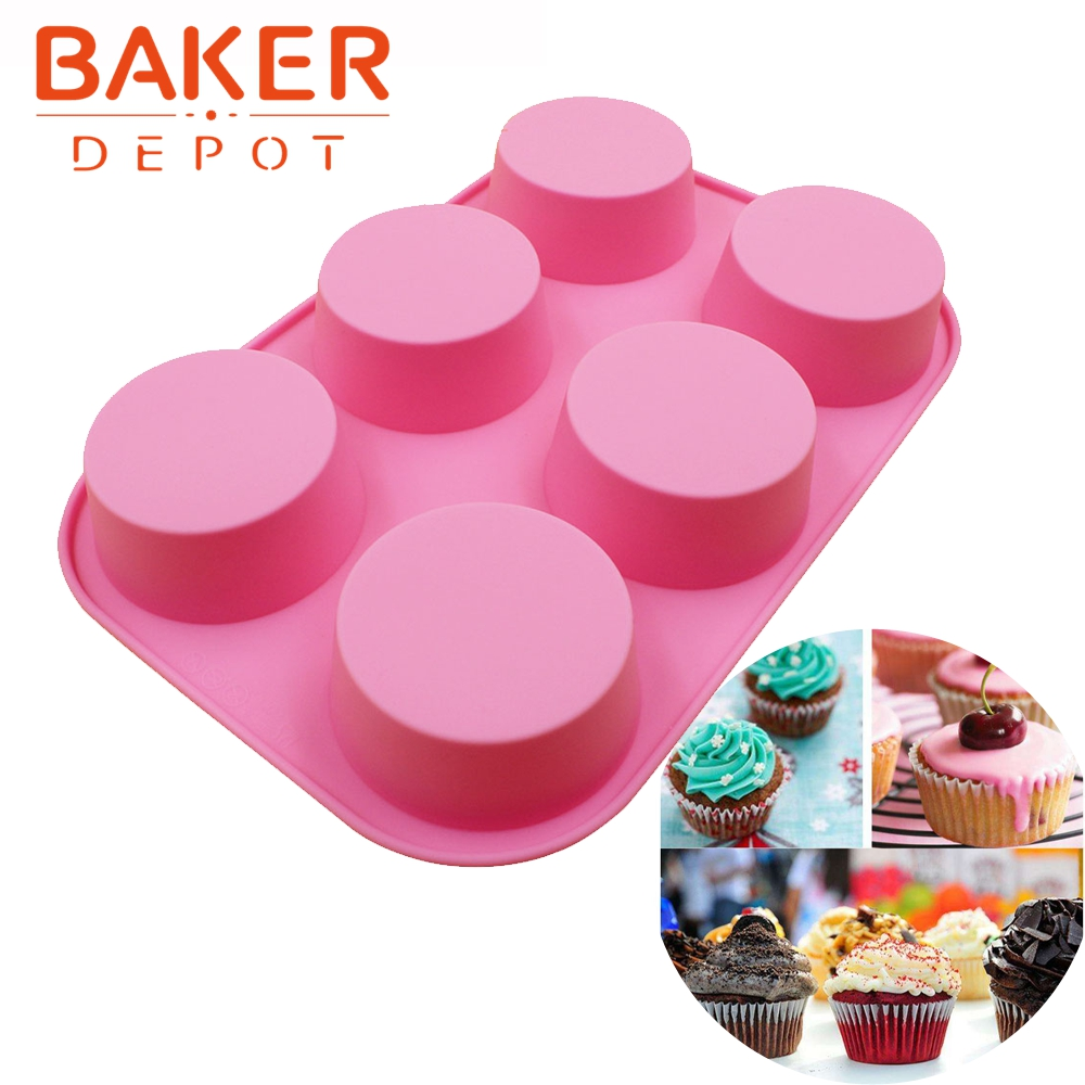 round silicone cake mold pastry moulds tools 6 Muffin ...