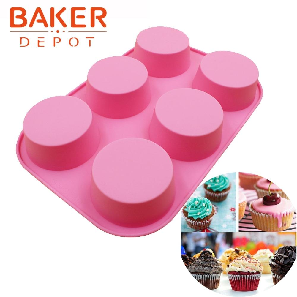 Molde de pastel redondo de silicona moldes de pastelería herramientas 6 Panecillos Muffin Moldes de jabón SSCM-001-14