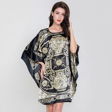 2019 Summer Oversize Nightwear Women Nightgown Faux Silk Satin Night Dress Loose Sleepwear Floral Robe Nightdress Plus Size