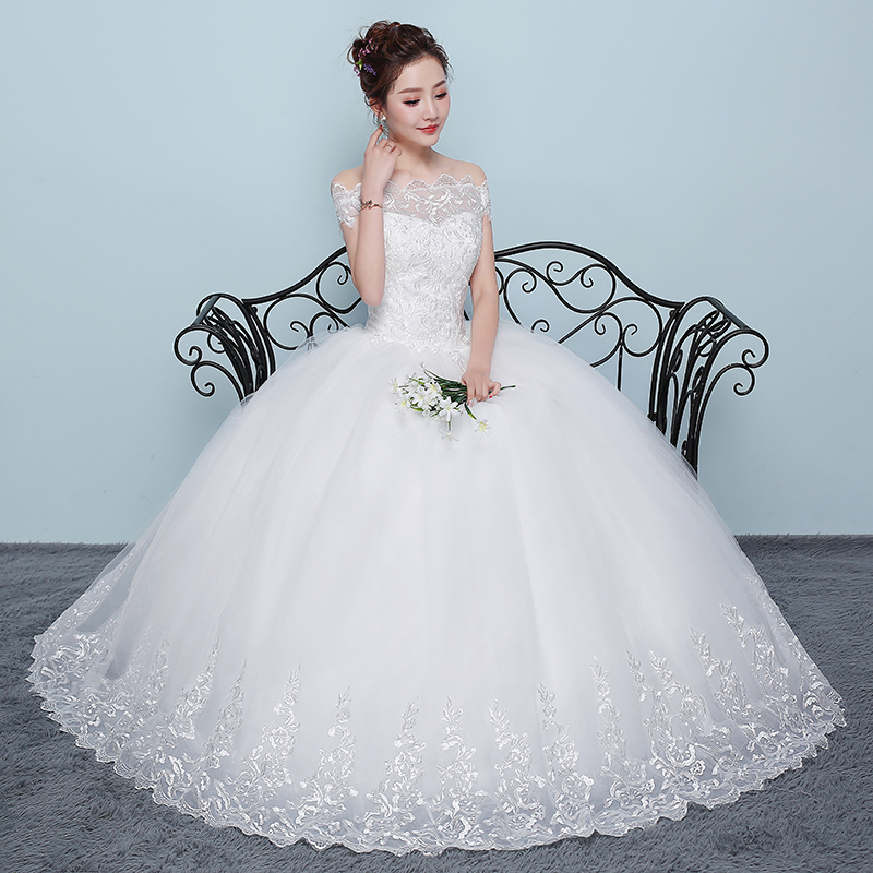 Charming Beading Boat Neck Cap Sleeve Embroidery Tulle Wedding Dress Ball Gown New 2019 Custom Made
