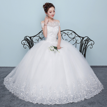 Charming Beading Boat Neck Cap Sleeve Embroidery Tulle Wedding Dress Ball Gown New 2019 Custom Made Size Bride Wedding Gown