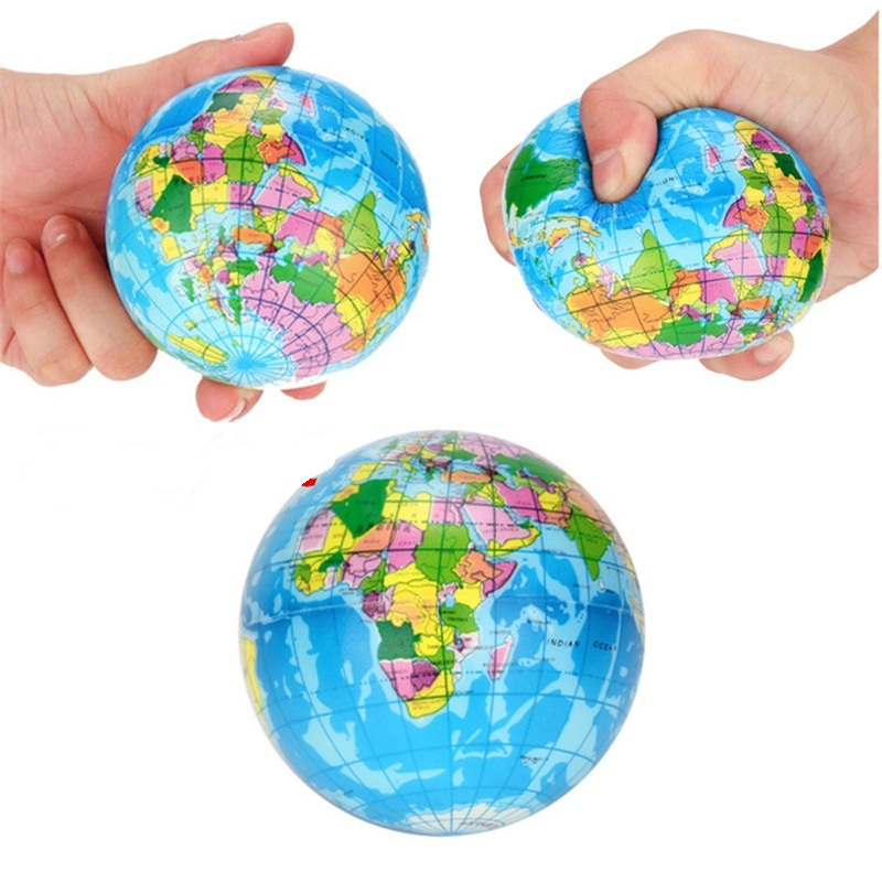 76mm/60mm Globe Ball Anti Stress Toys For Adults Kids Squeeze Toys World Map Earth Ball Stress Reliever Fun Kid Toy