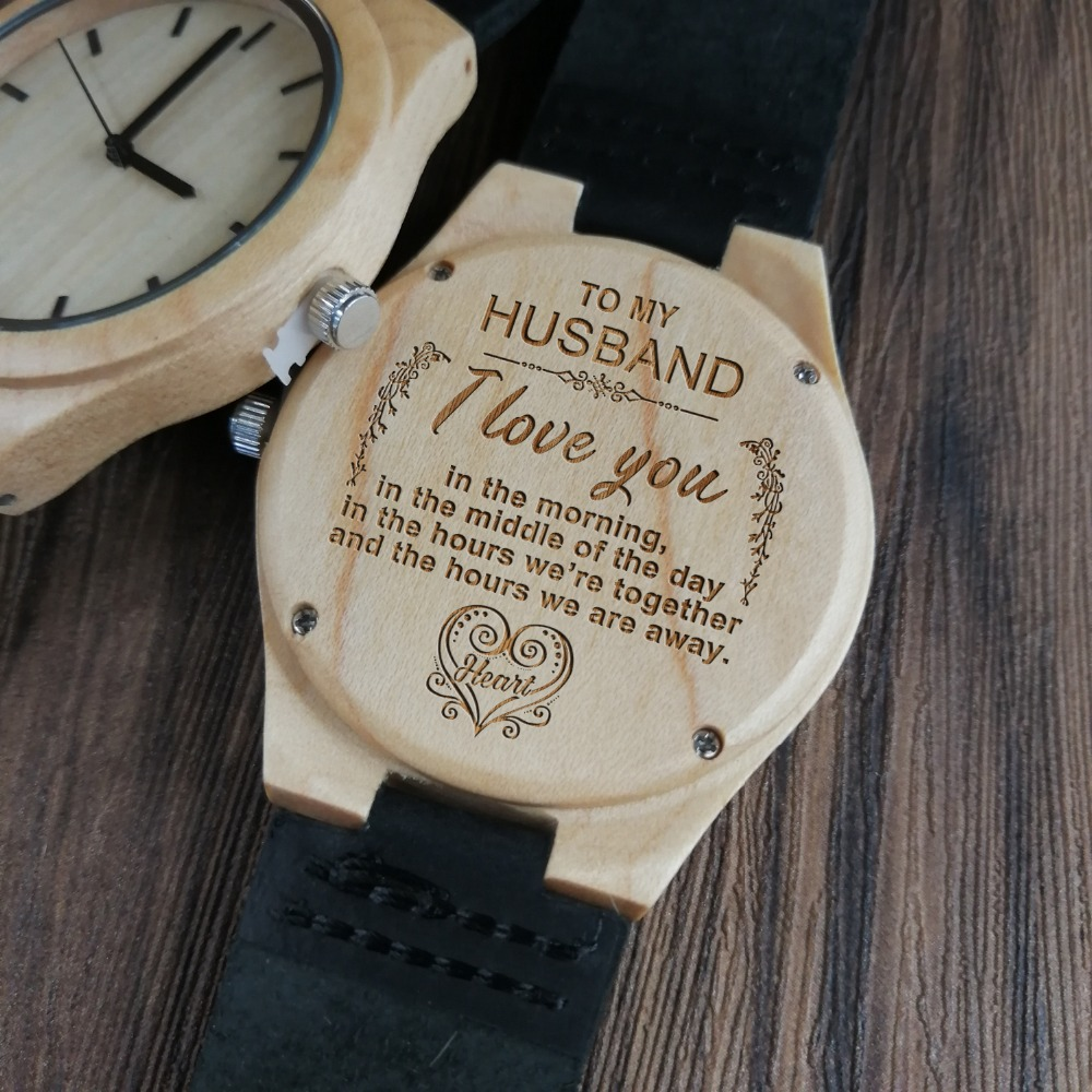 US $25 0 |Wife to Husband I Love You Morning Middle Day Hours Together Away  Heart Engraved Zebra Wooden & Ebony Watch-in Quartz Watches from Watches