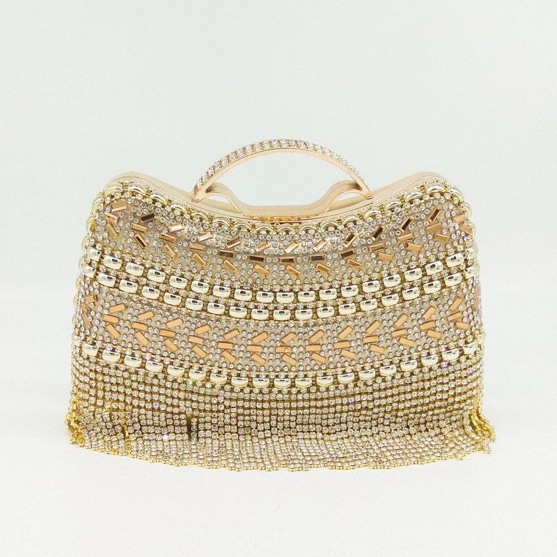 2018 Dazzling Clutch Bag with Beautiful Tassel and Diamonds, Vintage Evening Bag with Detachable Chain