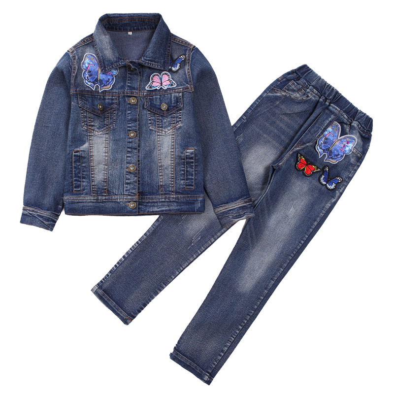 Girls Denim Outfits for Kids Clothing Sets for Girls Jeans Jackets & Pants Suits 8 9 10 12 Years Children Butterfly Clothes Sets fashion autumn girl clothing sets denim outfits girls clothes sets jeans jackets shirt patchwork dress 2pcs suits with necklace