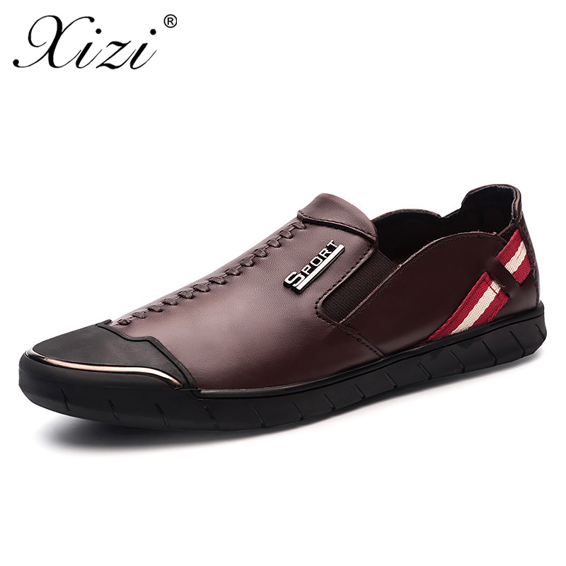 XIZI Men casual Genuine Leather Shoes male Slip On Black loafers Shoes Real Leather Loafers Men Moccasins Shoes oxford boat Shoe branded men s penny loafes casual men s full grain leather emboss crocodile boat shoes slip on breathable moccasin driving shoes