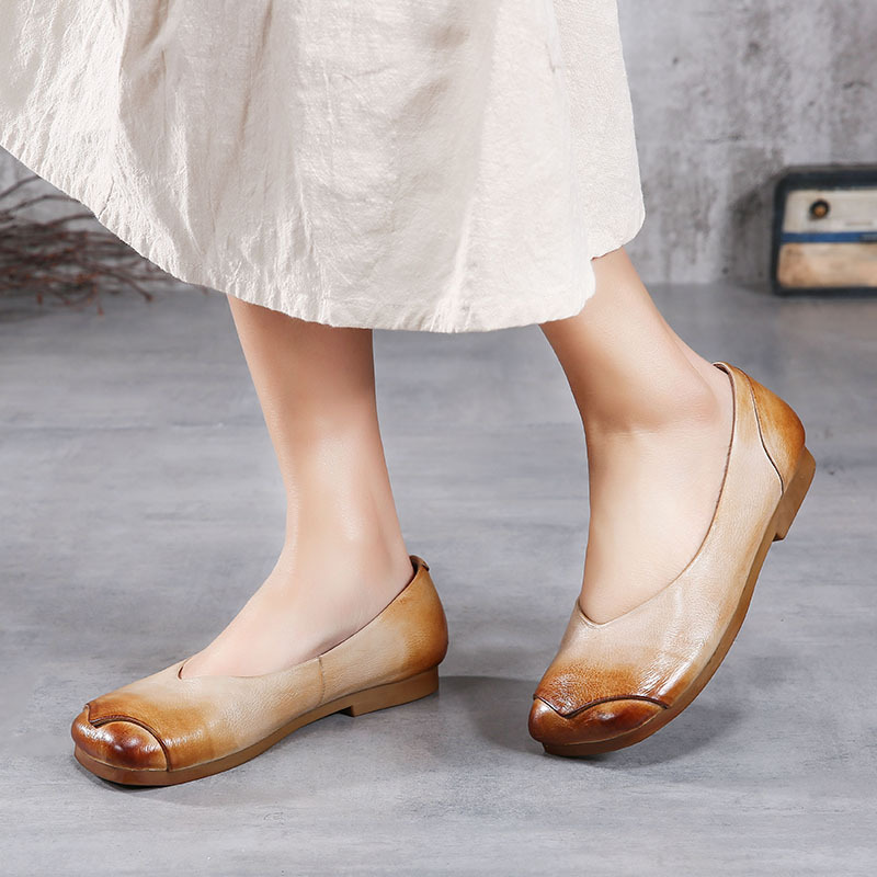 2018 spring summer flat leather shoes woman square head shallow ladies flats casual comfortable lazy slip on shoes Actmdall ladies shoes 2018 spring british style multicolor leather shoes square head slope thick soles shoes fashion fit flat shoes
