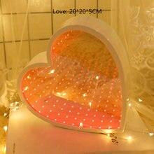 Туннельная лампа 3d зеркальный декоративный светильник с бесконечностью