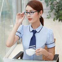 2017 Summer Fashion Career Women Shirt Short Sleeve Formal Slim Elegant Business Chiffon Blouse Office Ladies