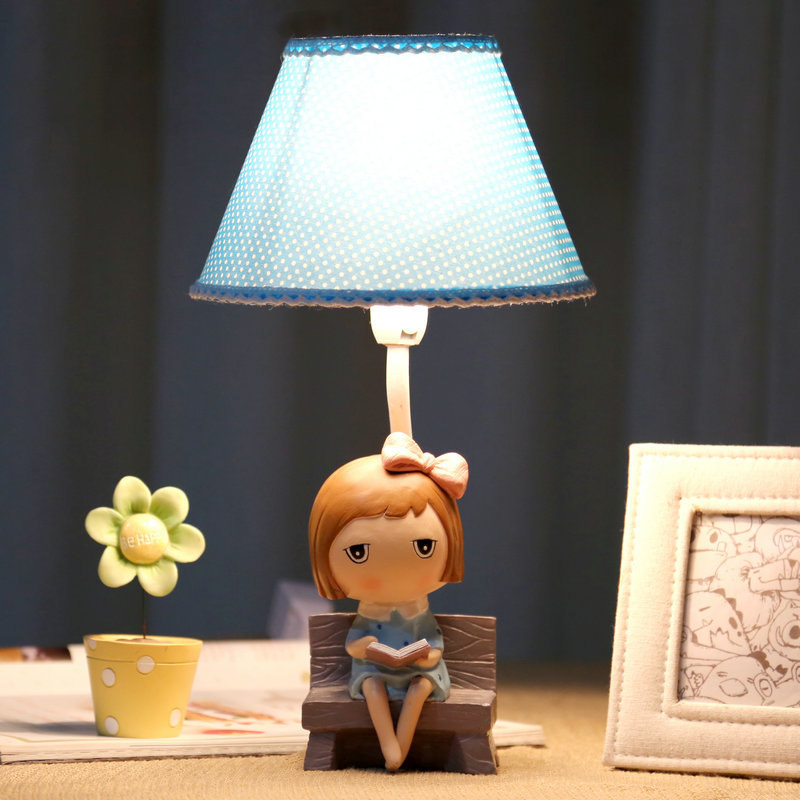 Lovely Healthy Romantic Little Girl Resin Fabric E27 Dimmiable Table Lamp For Children's Bedroom Bedsids Kid's Gift 1815 фен elchim 3900 healthy ionic red 03073 07